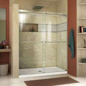 Shower Doors   Showers   The Home Depot Essence 56 to 60 in  x 76 in  Semi Frameless Sliding Shower Door