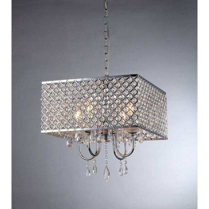 Warehouse Of Tiffany Zarah 4 Light Chrome Crystal Chandelier With Shade Rl5623 The Home Depot