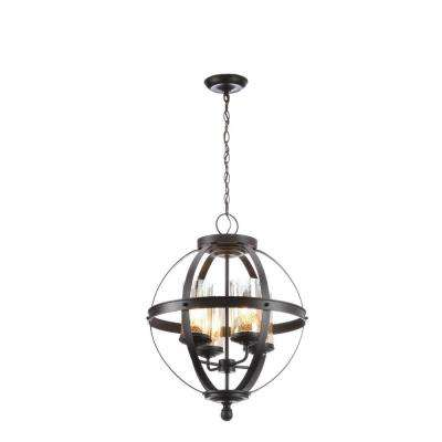 Sfera 4 Light Autumn Bronze Chandelier With Mercury Glass Shade