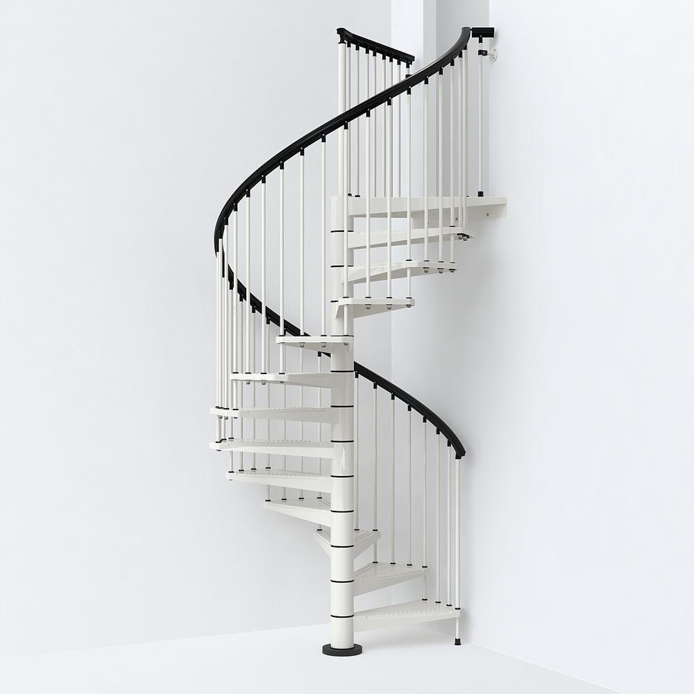 Sky030 63 In White Spiral Staircase Kit K26289 The Home Depot | Outdoor Spiral Staircase Home Depot | Reroute Galvanized | Handrail | Arke Nice1 | Arke Enduro | Galvanized Exterior
