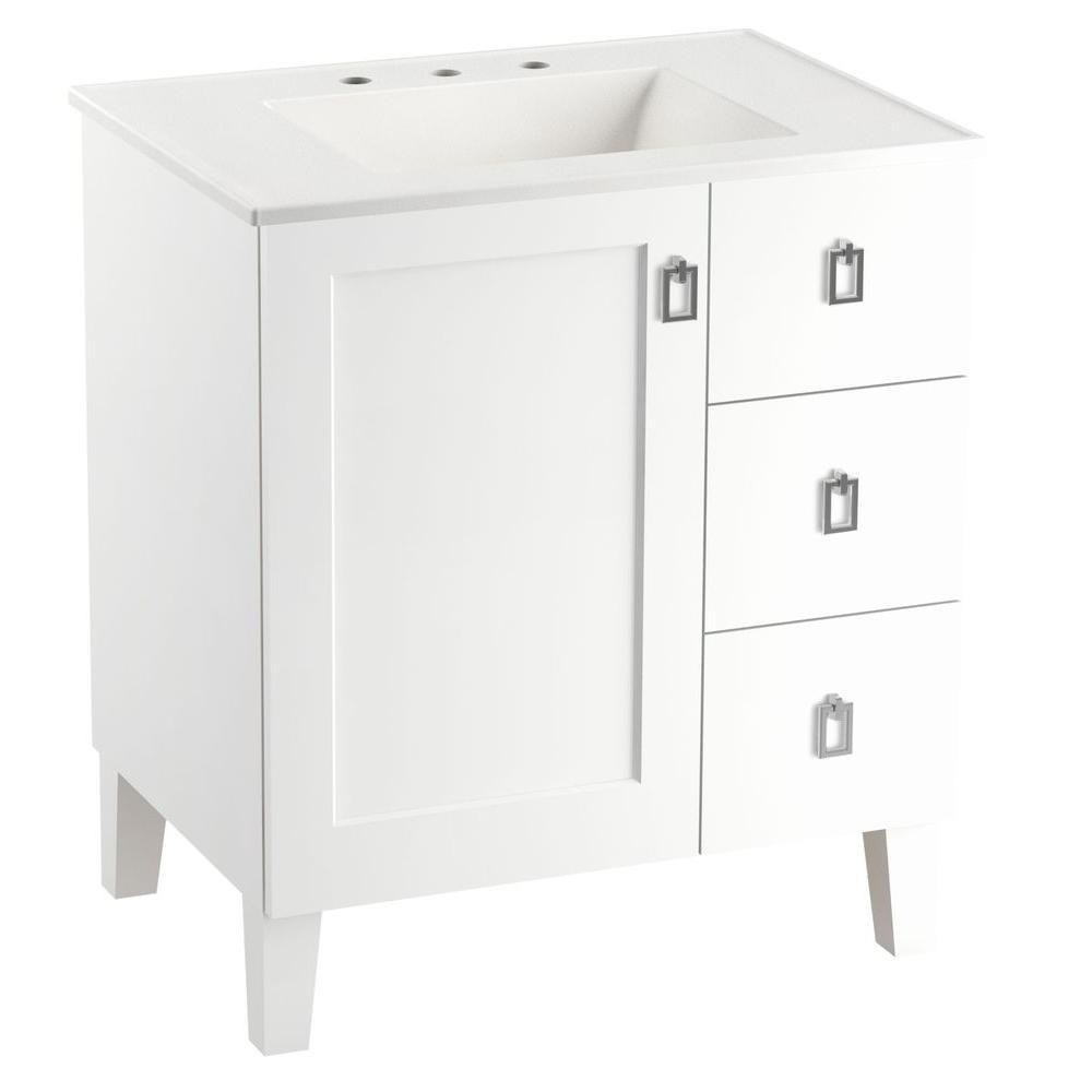 kohler poplin 30 in vanity in linen white with vitreous china vanity top in white