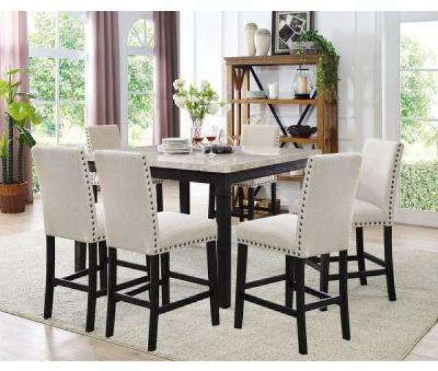 Azul 7 Piece Espresso And Ivory Dining Set Marble Table And 6 Fabric