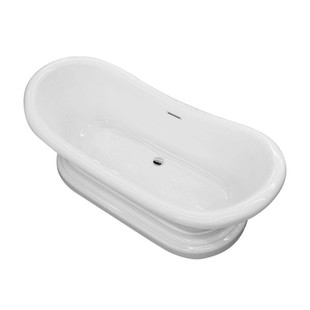 OVE Decors Serenity 59 Ft Center Drain Bathtub In White