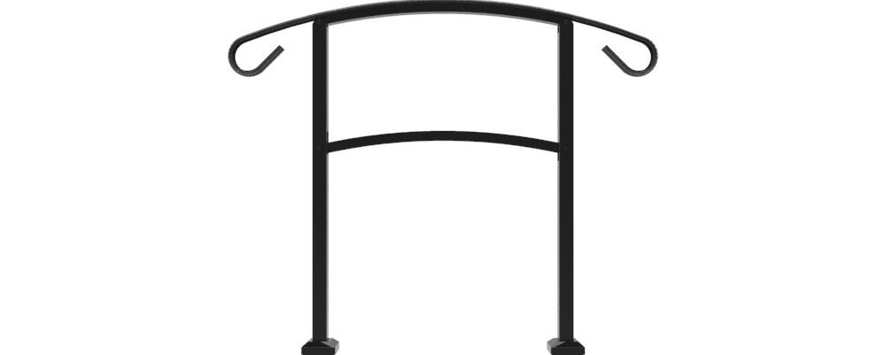 Tuffbilt Handirail 3 57 In X 47 75 In X 3 09 Ft Matte Black 3 | Outside Stair Railing Home Depot | Aluminum Balusters | Wood | Rail Kit | Hand Rail | Stair Parts