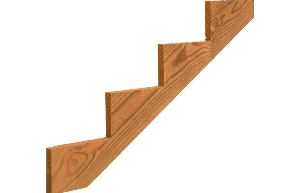 4 Step Pressure Treated Cedar Tone Pine Stair Stringer 211691 | Pre Built Wooden Steps | 12 Step | Interior | Box | Oak | Premade