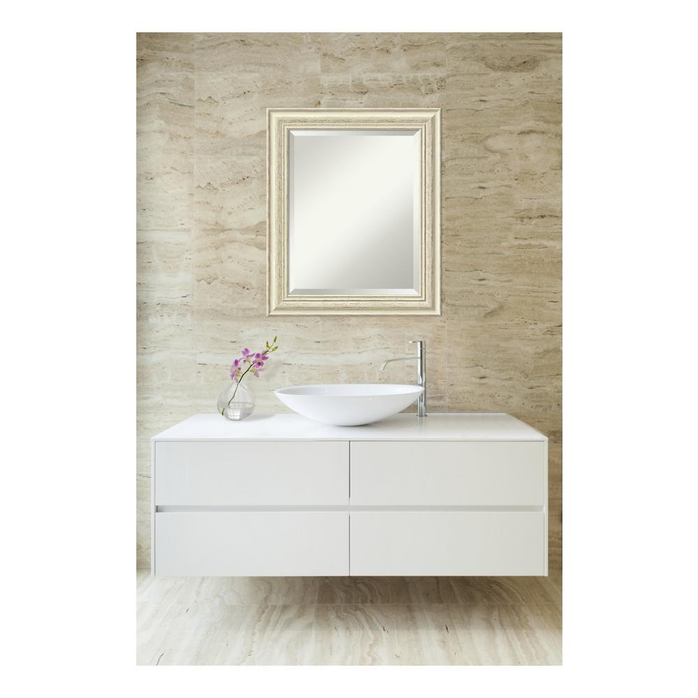 amanti art country 21 in w x 25 in h framed rectangular bathroom vanity mirror in rustic whitewash cream dsw3572559 the home depot
