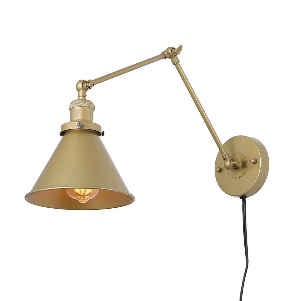 LNC 1-Light Gold Wall Lamp Adjustable Plug-In Wall Sconce ... on Plugin Wall Sconce Lights id=19317