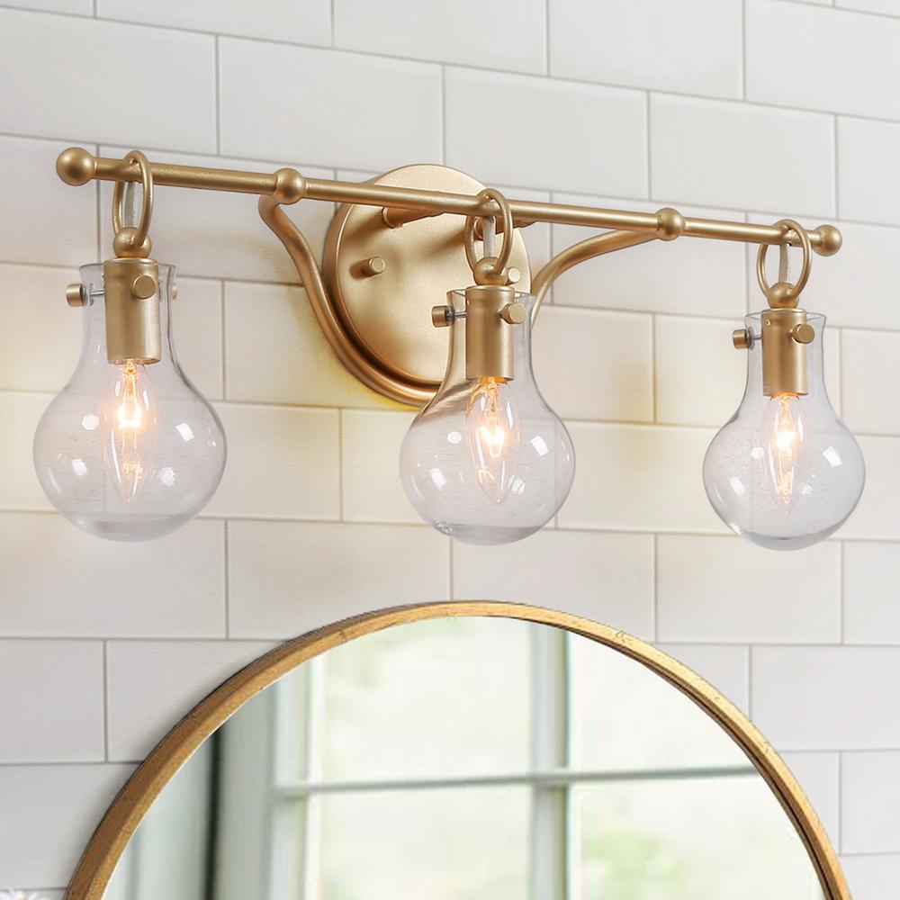 LALUZ Lavi 3-Light Modern Gold Vanity Light with Clear ...