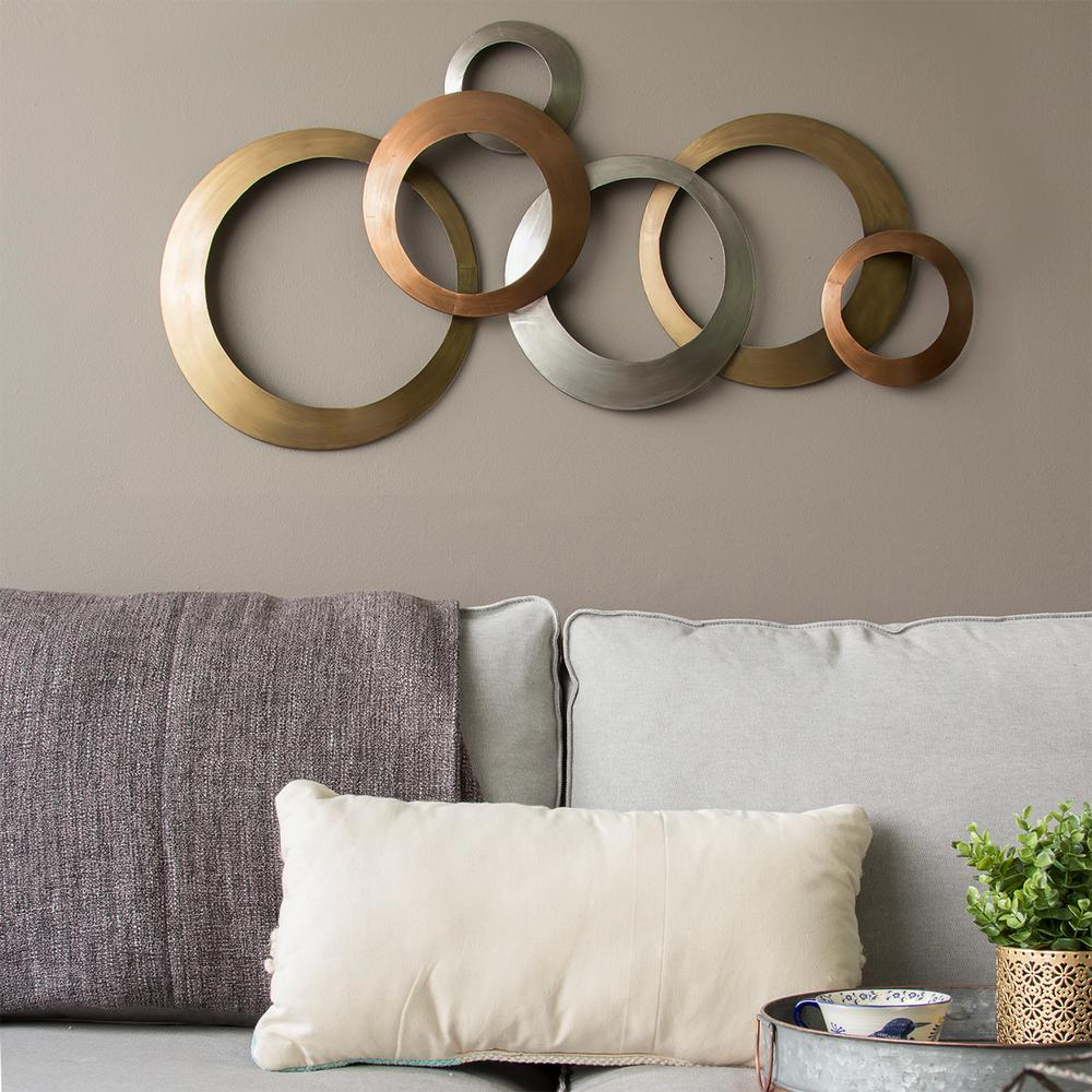 Stratton Home Decor Multi Metallic Rings Metal Wall Decor ... on Wall Decoration Ideas At Home  id=52235