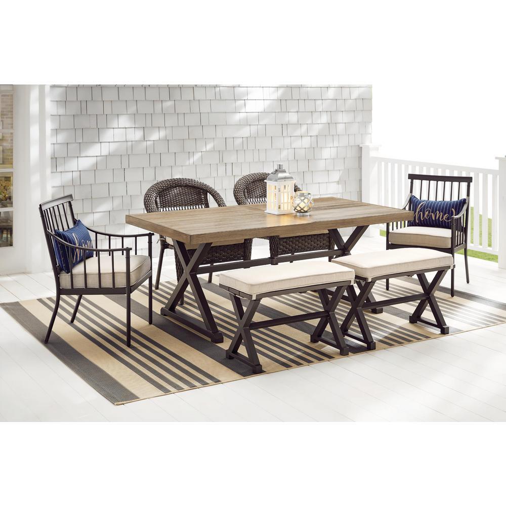 rectangular metal outdoor dining table