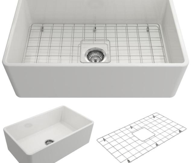 Bocchi Classico Farmhouse Apron Front Fireclay  In Single Bowl Kitchen Sink With Bottom Grid And Strainer In White  The Home Depot