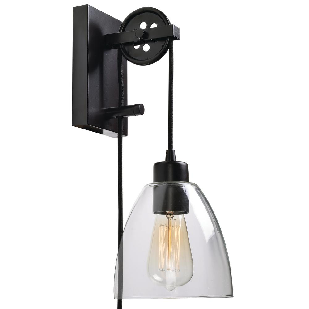 Manor Brook Pulley 1-Light Oil Rubbed Bronze Plug-in Wall ... on Plugin Wall Sconce Lights id=83478