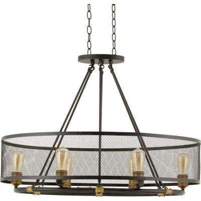 Heritage Collection 6 Light Forged Bronze Chandelier With Mesh Shade