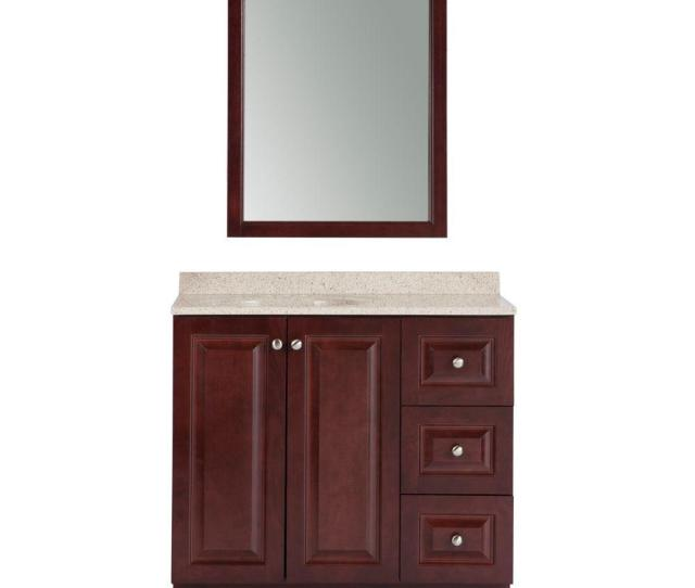 Glacier Bay Northwood  In W X  In D Bath Vanity In Dark Cherry With Composite Vanity Top In Maui And Mirror Nwpcom Dc The Home Depot