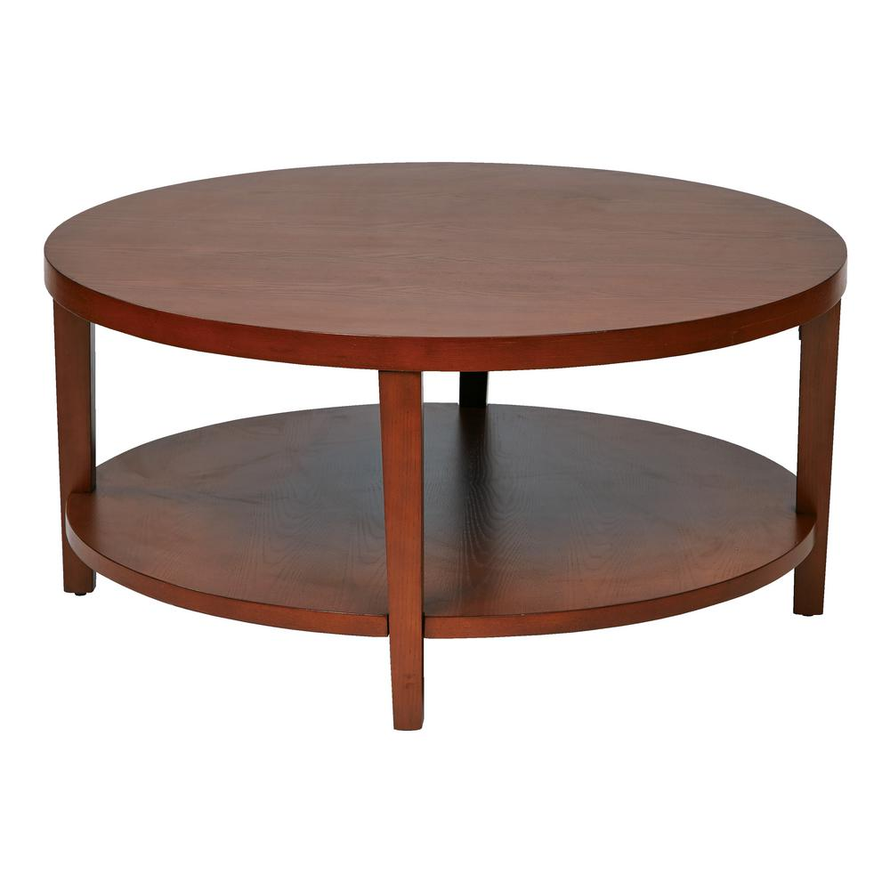 office star products merge 36 in cherry medium round wood coffee table with shelf mrg12 chy the home depot