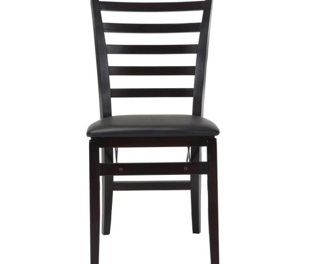 Contoured Back Espresso Wood Folding Chairs With Vinyl Seat Set Of