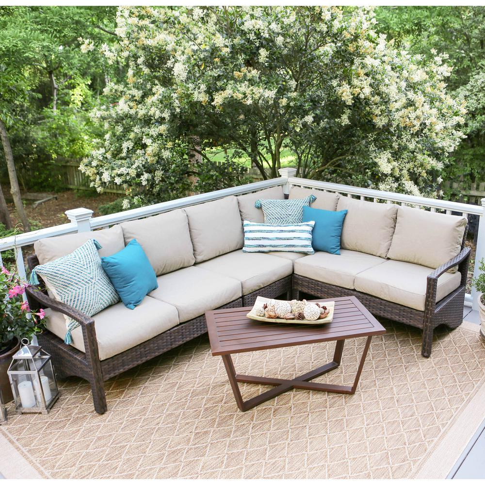 Leisure Made Augusta 5-Piece Wicker Patio Corner Sectional ... on 5 Piece Sectional Patio Set id=13881