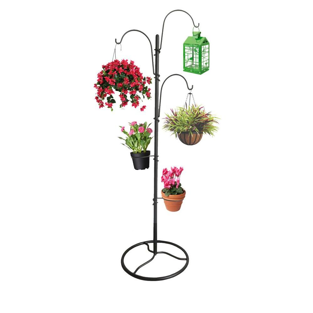 Tree Shape Planter Stand 64.5'' Outdoor Black Steel 3 ... on Hanging Stand For Plants  id=75917