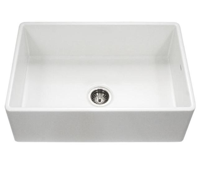 Platus Series Farmhouse Apron Front Fireclay  In Single Bowl Kitchen Sink In White