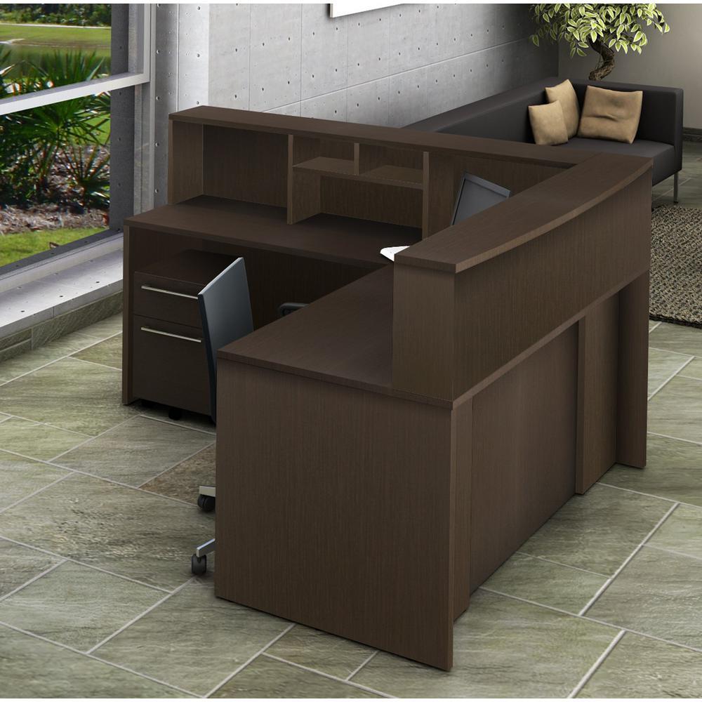 5 Piece Espresso Office Reception Desk Collaboration