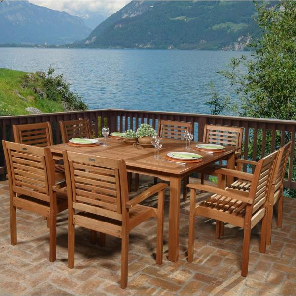 Amazonia Livorno 9 Piece Square Eucalyptus Wood Patio Dining Set BT     Amazonia Livorno 9 Piece Square Eucalyptus Wood Patio Dining Set