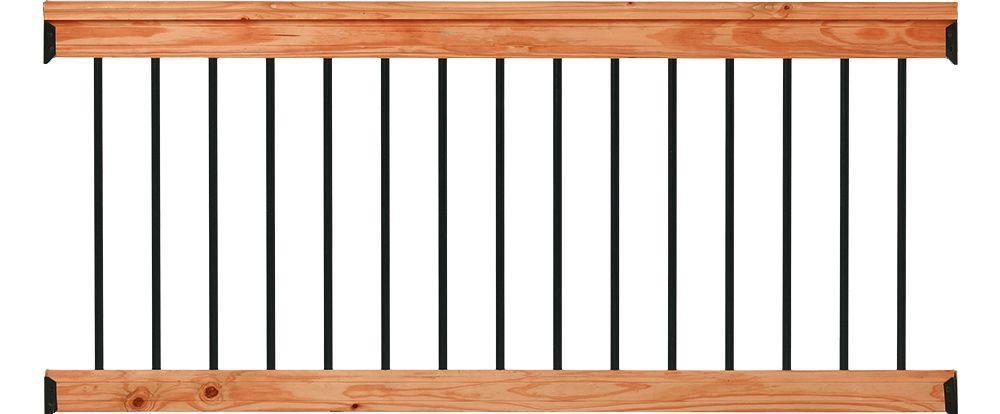 Deckorail 6 Ft Redwood Deck Rail Kit With Black Aluminum | Wood Handrail Home Depot | Redwood Deck Railing | Treated Lumber | Deck Stair Handrail | Outdoor | Oak Stair