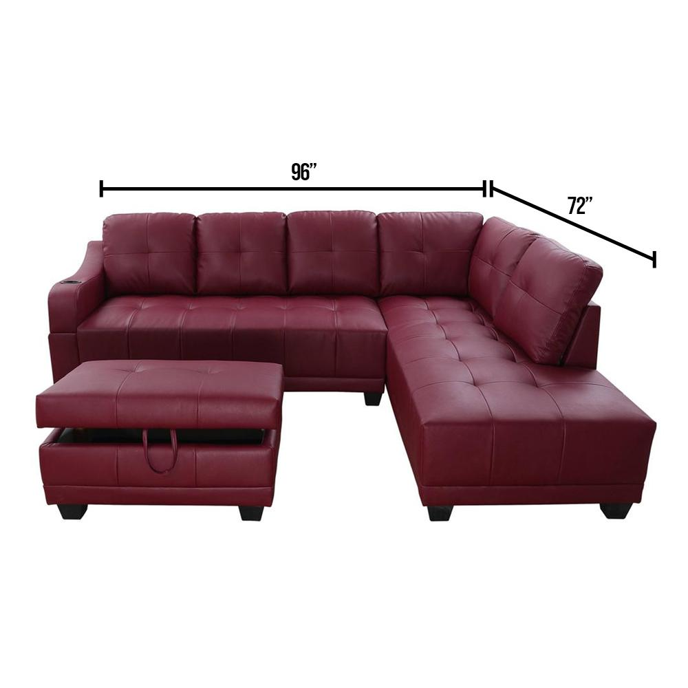 star home living bill 3 piece red faux leather 3 seater l shaped right facing sectional sofa with ottoman sh7303b the home depot