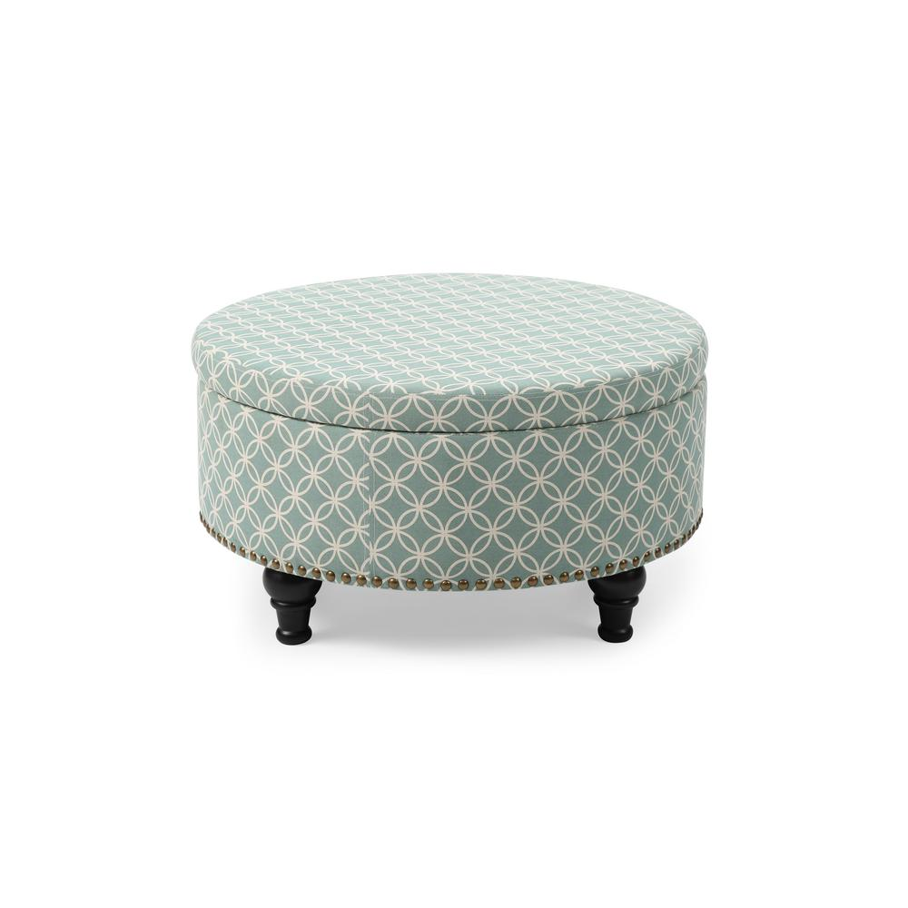 unbranded blue round storage ottoman with nailhead geometric 91025 63 the home depot
