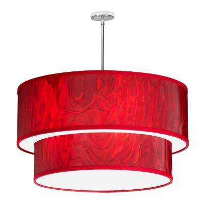 Catherine 6 Light Red Ice And Polished Chrome Pendant