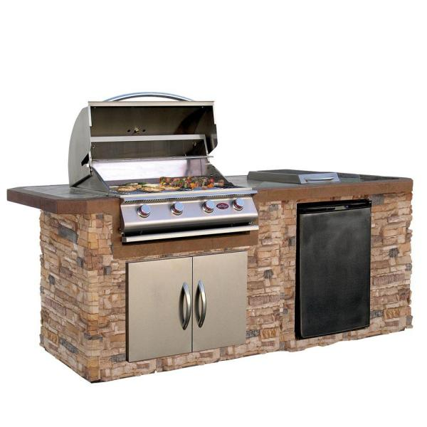 Grill Islands   Outdoor Kitchens   The Home Depot Cultured Stone Grill Island with Tile Top and 4 Burner Gas Grill