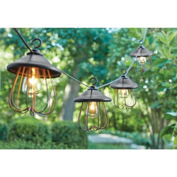 outdoor patio lighting string lights Hampton Bay 8-Light Decorative Bronzed Patio Cafe String