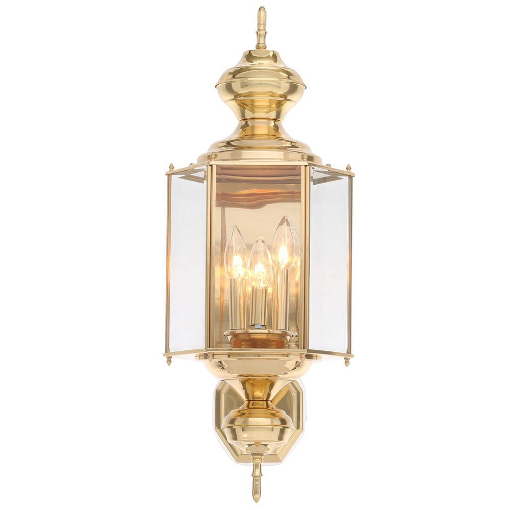 Progress Lighting BrassGUARD Collection 3-Light Polished ... on Brass Wall Sconces Non Electric Lighting id=94494
