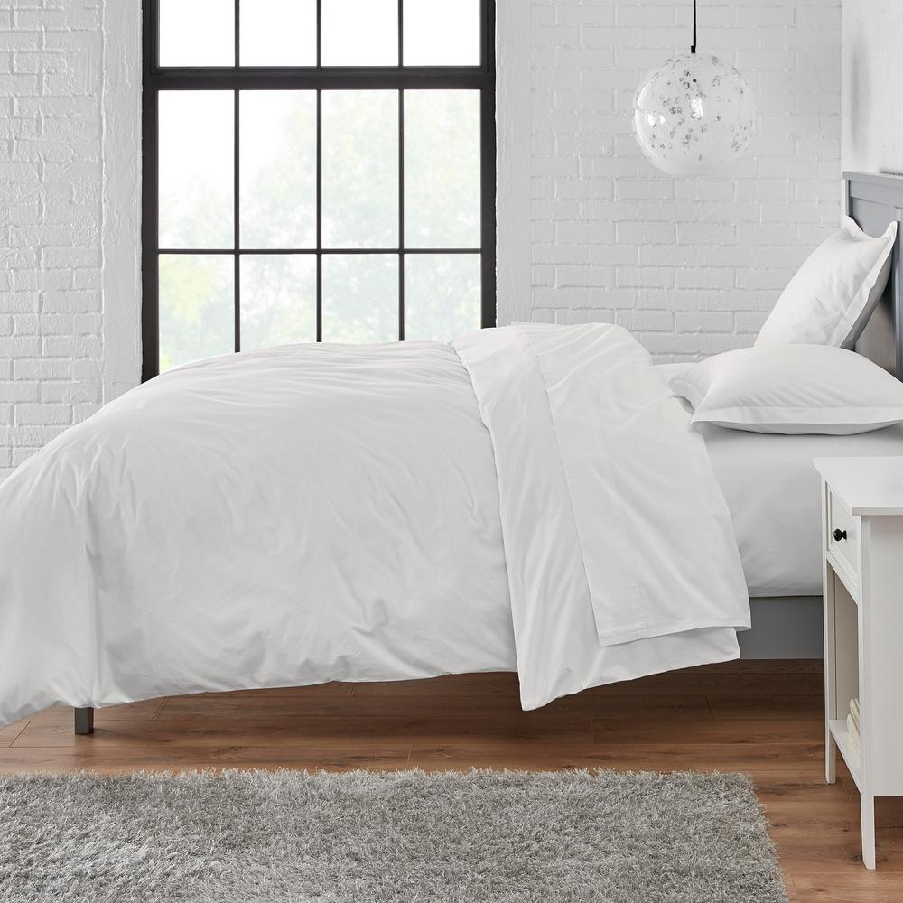 stylewell vintage washed cotton percale 2 piece twin duvet cover set in white cn0001 t white the home depot