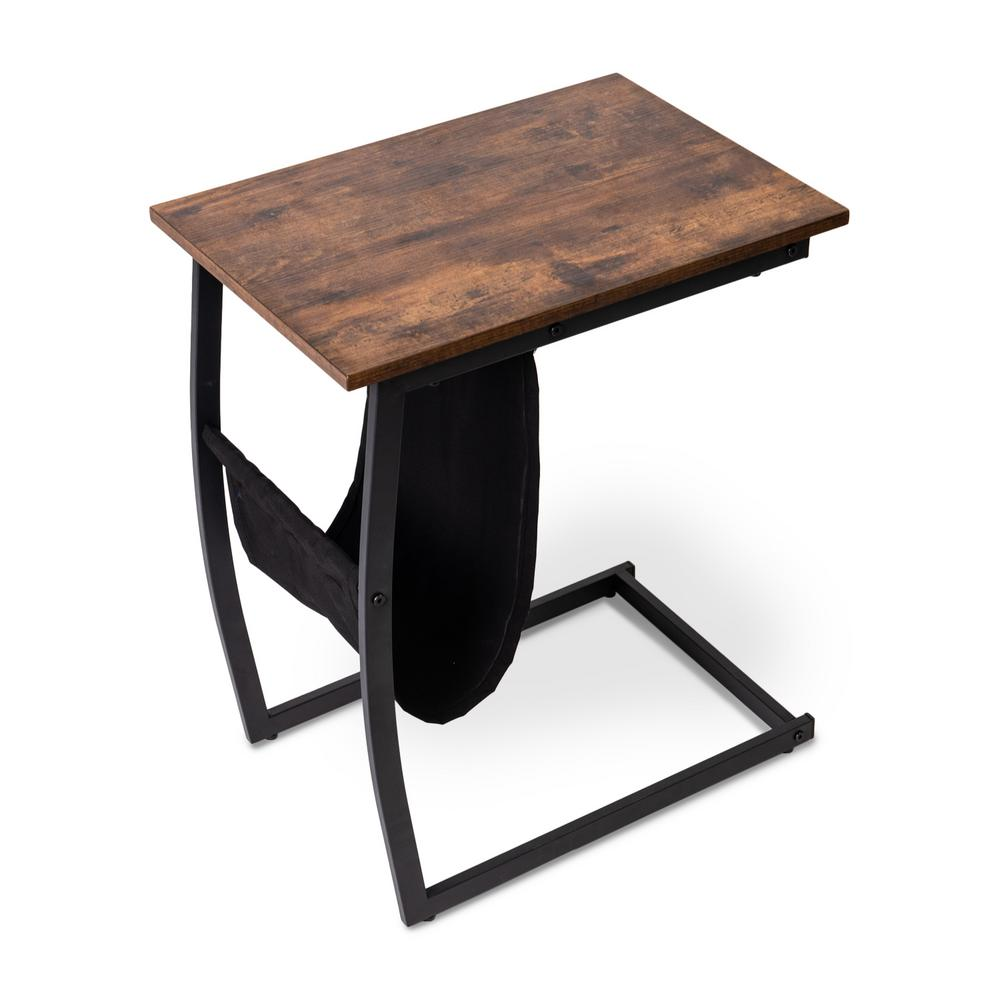 good gracious industrial rustic brown side table with sturdy metal frame c shaped with storage holder 24 inches high st s b01 the home depot
