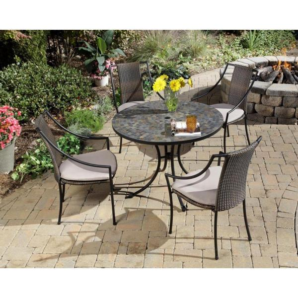 Home Styles Stone Harbor 5 Piece Round Patio Dining Set with Taupe     Home Styles Stone Harbor 5 Piece Round Patio Dining Set with Taupe Cushions
