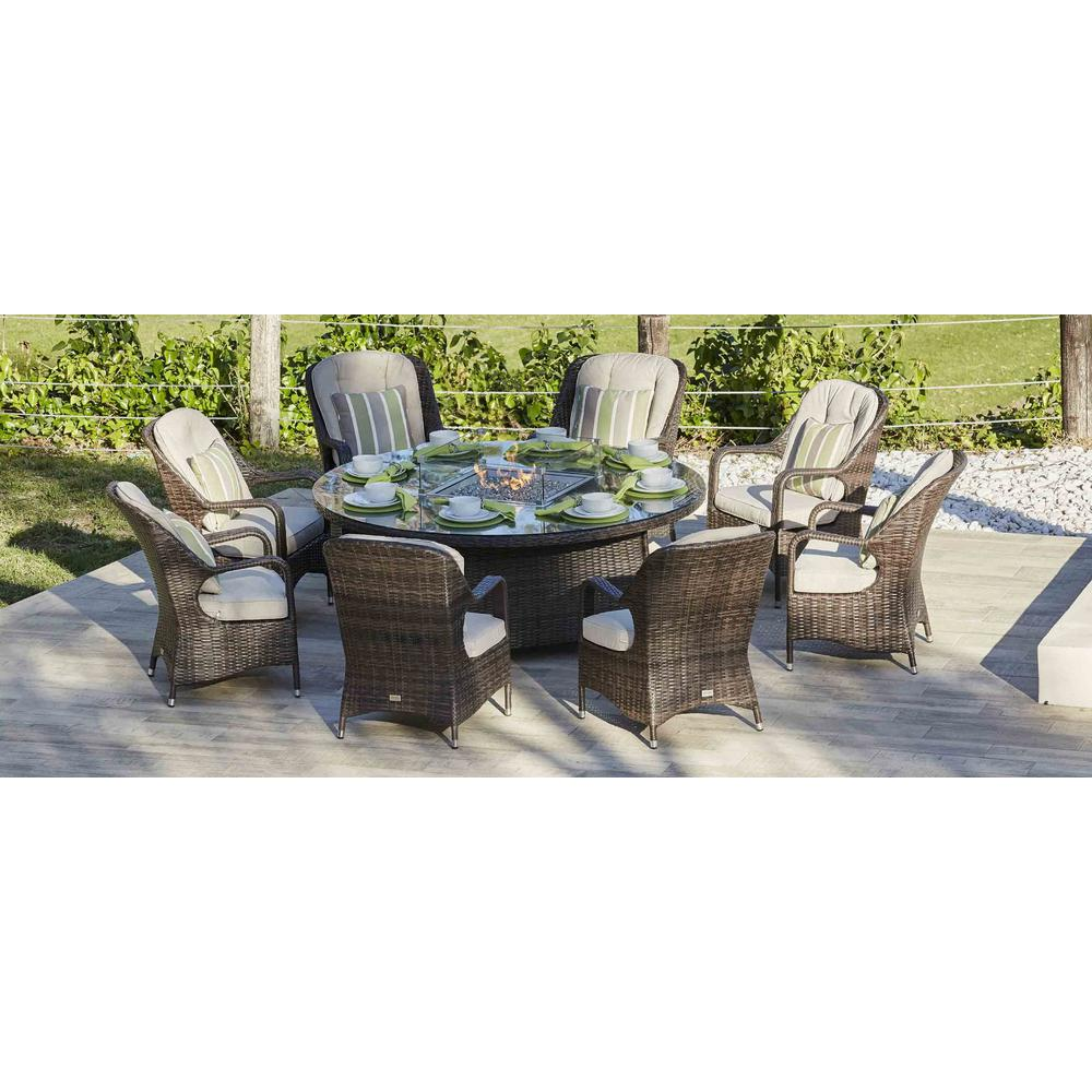 DIRECT WICKER Eton 8-Seat Brown Round Wicker Outdoor Fire ... on Outdoor Dining Tables With Fire Pit id=12214