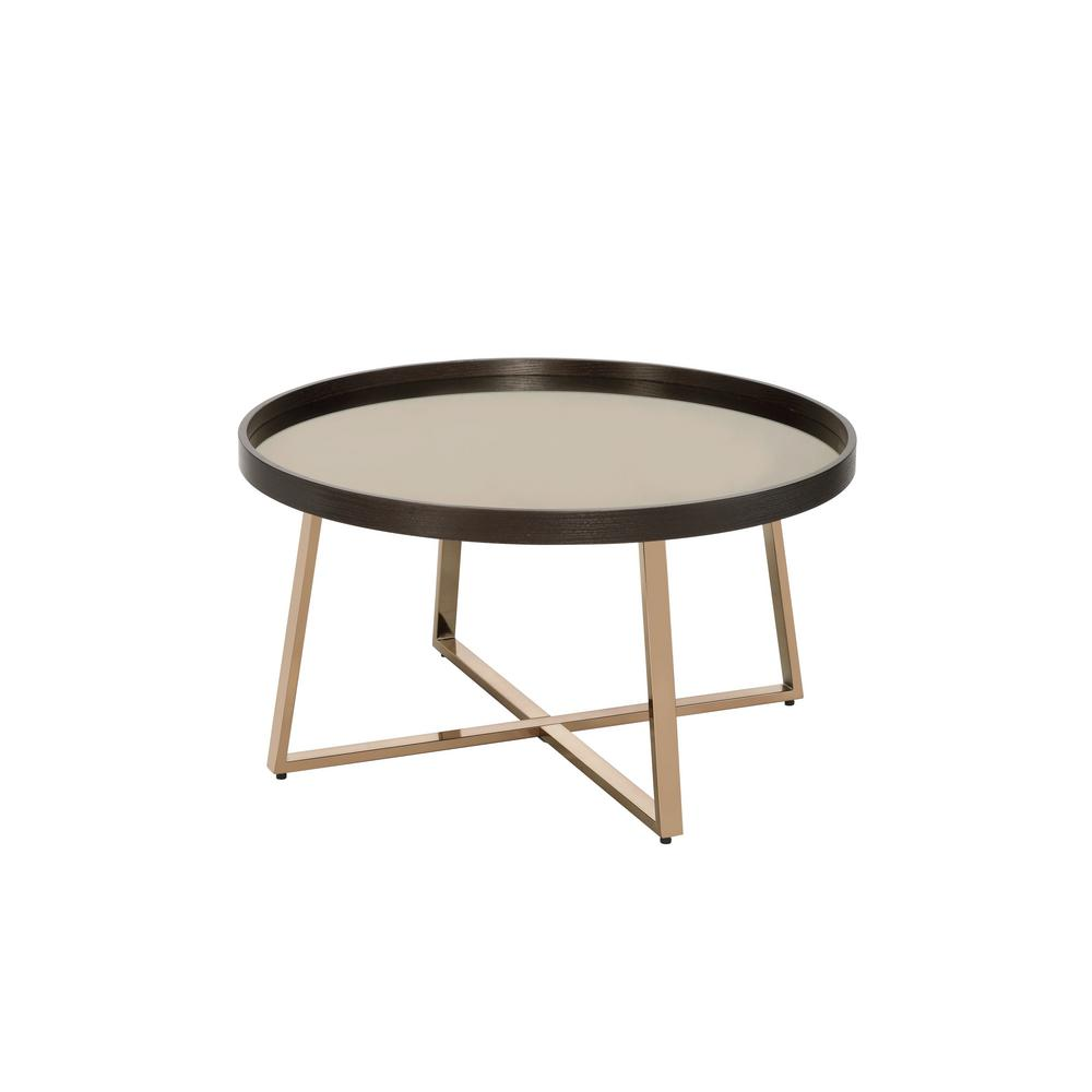 acme furniture 31 in mirrored walnut champagne medium oval wood coffee table with storage 82945 the home depot