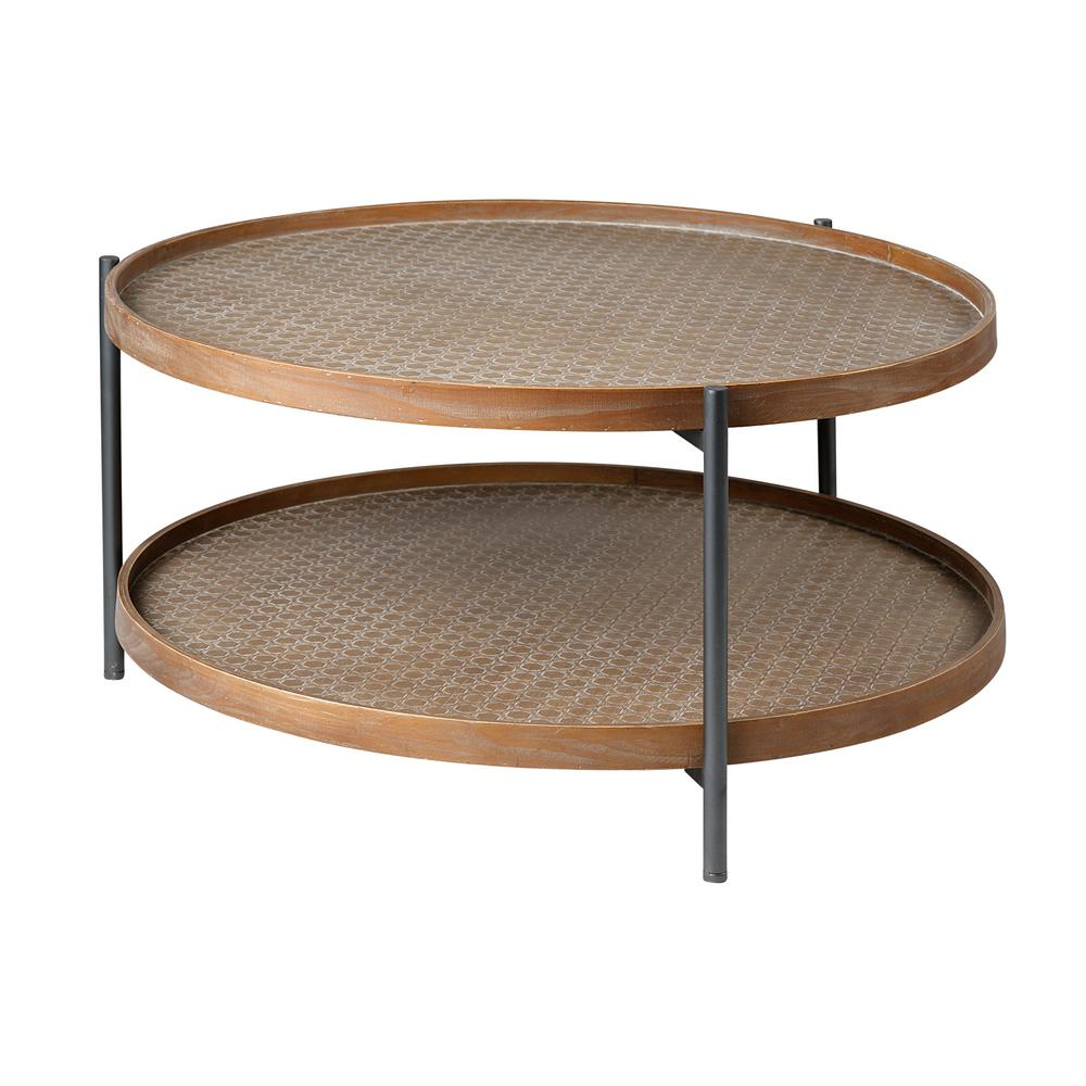 mercana kade 34 in light brown medium round wood coffee table with shelf 68542 the home depot