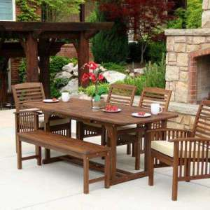 Bench   6 7 Person   Wood   Patio Dining Furniture   Patio Furniture     Boardwalk 6 Piece Dark Brown Acacia Outdoor Dining Set with Cushions