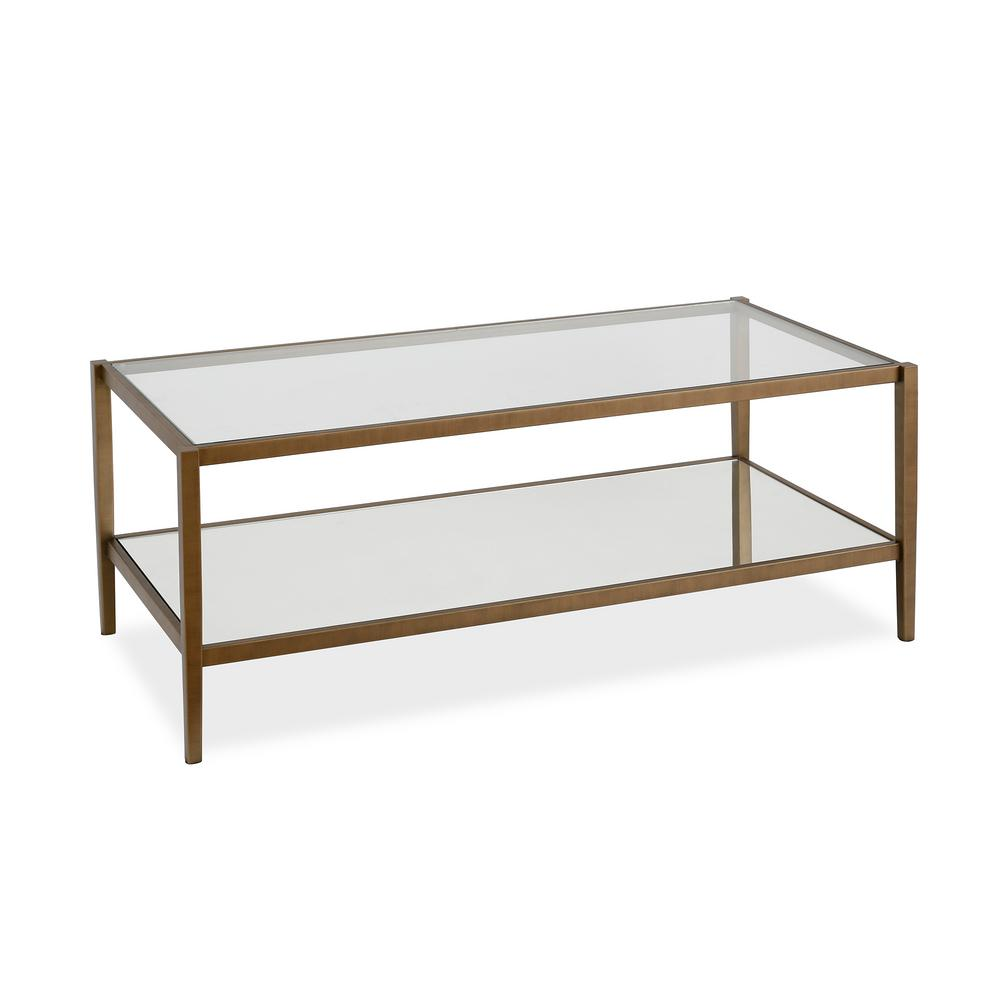 meyer cross wilda 45 in clear brass large rectangle glass coffee table with mirrored shelf ct0143 the home depot