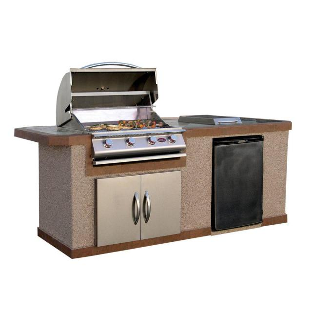 cal flame 7 ft. stucco grill island with tile top and 4-burner gas