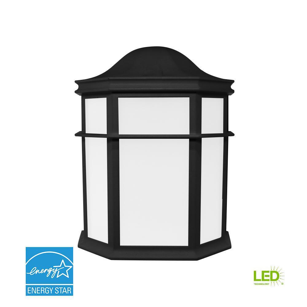 Decorative 1-Light Black Outdoor Integrated LED Wall Mount ... on Wall Mounted Decorative Lights id=82465