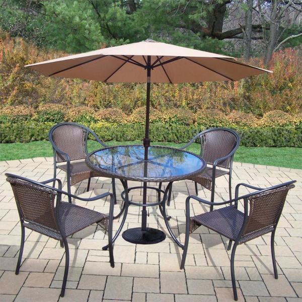 7 piece outdoor wicker patio dining sets Hampton Bay Pin Oak 7-Piece Wicker Outdoor Dining Set with