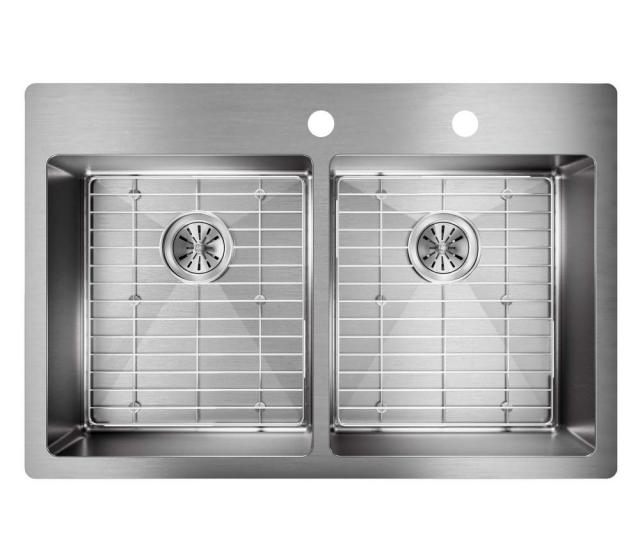 Crosstown Drop In Undermount Stainless Steel  In Double Bowl Kitchen Sink With