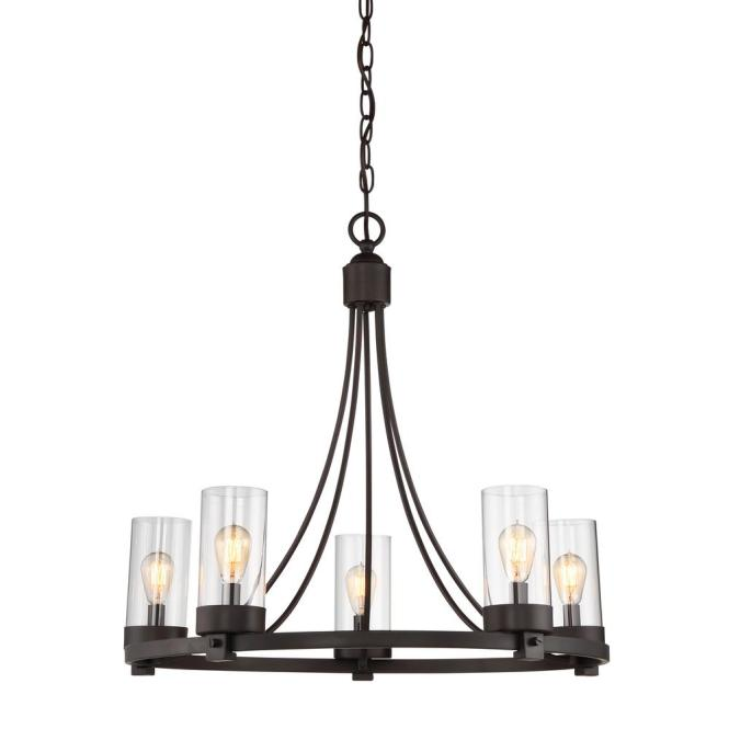 Filament Design 5 Light Oil Rubbed Bronze Chandelier With Clear Glass Shade