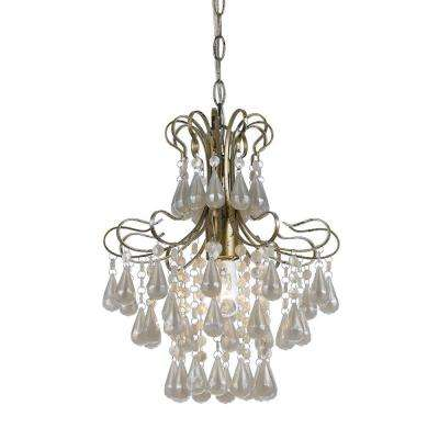 Tiffany 1 Light Soft Gold Mini Chandelier With White
