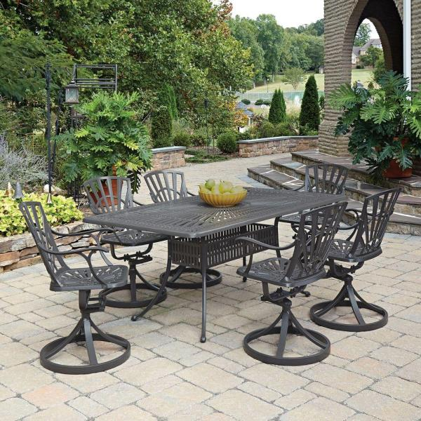 outdoor patio 7 piece dining set Home Styles Largo Taupe 7-Piece All-Weather Patio Dining