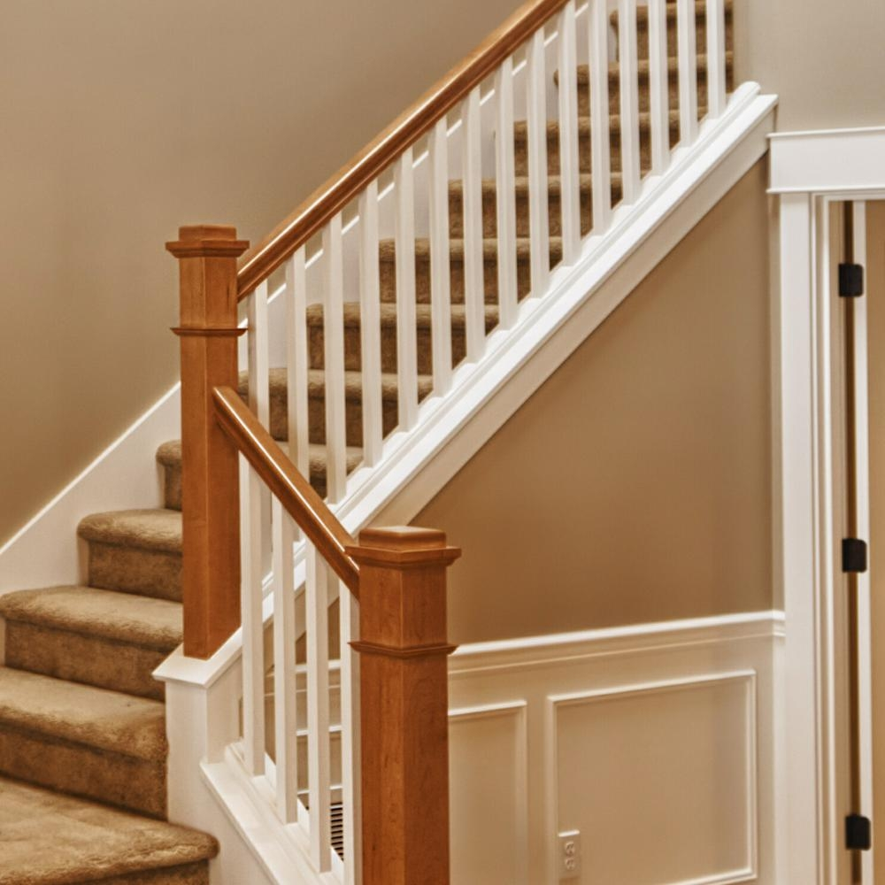 Stair Parts 6010 8 Ft Unfinished Red Oak Plowed Stair Handrail   Red Oak Stair Railing   Inside   2 Tone   Beautiful   Color   Two Toned