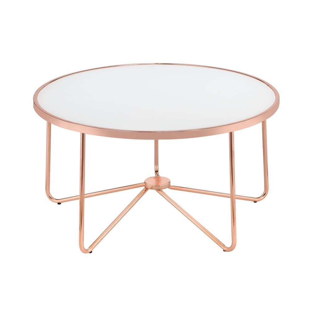 acme furniture alivia frosted glass and rose gold coffee table 81835 the home depot