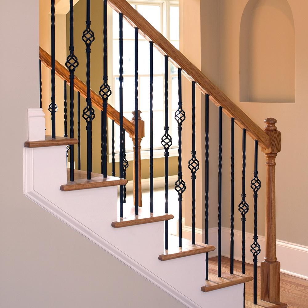 Stair Parts 44 In X 1 2 In Oil Rubbed Copper Metal Double Twist   White Banister With Iron Spindles   Foyer   Remodel   Basement   Stair Heavy   Madison